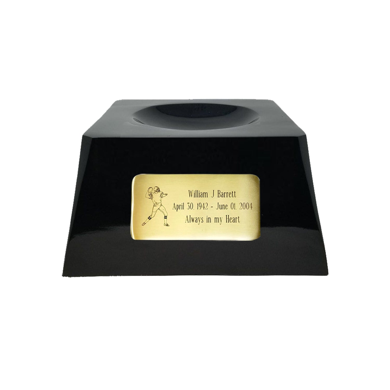 Football Cremation Urn with Optional Georgia Bulldogs Ball Decor and Custom Metal Plaque data-image-id=