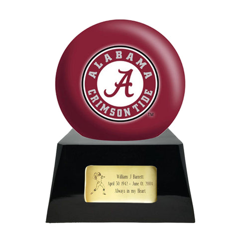 Football Cremation Urn and Alabama Crimson Tide Ball Decor with Custom Metal Plaque