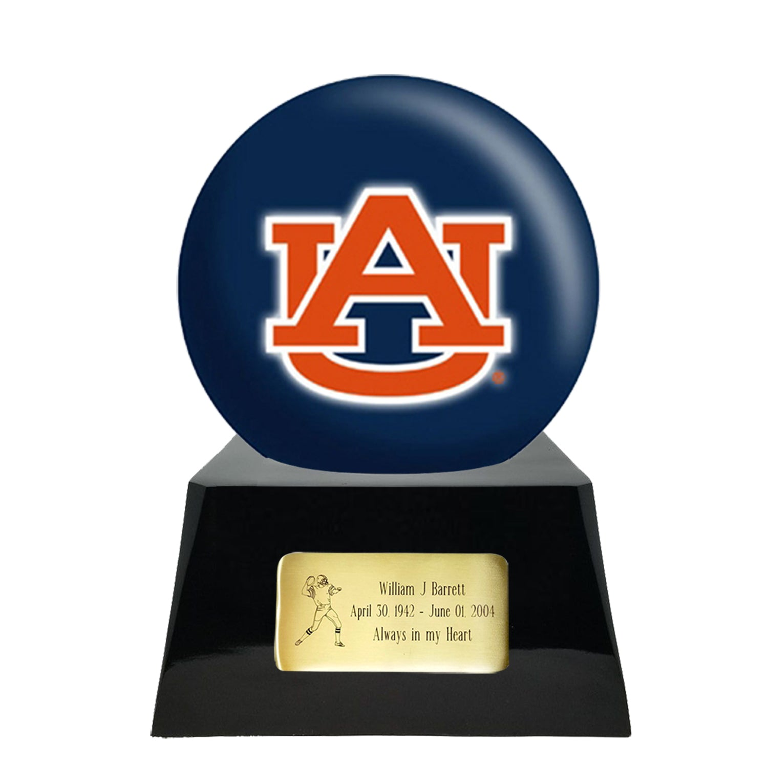 Football Cremation Urn with Optional Auburn Tigers Ball Decor and Custom Metal Plaque