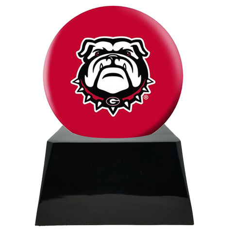 Football Cremation Urn with Optional Georgia Bulldogs Ball Decor and Custom Metal Plaque