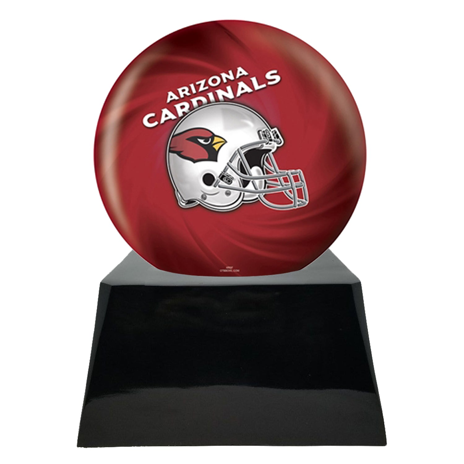 Football Cremation Urn and Arizona Cardinals Ball Decor with Custom Metal Plaque data-image-id=