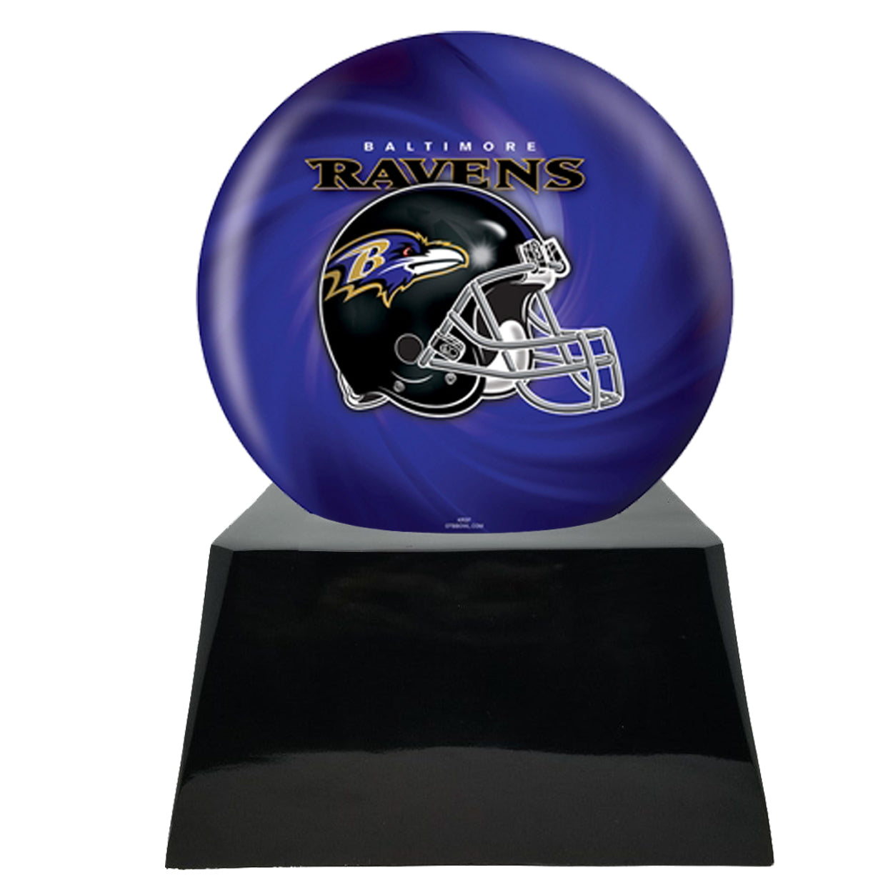 Football Urn for Ashes - Football Team Cremation Urn and Baltimore Ravens Ball Decor with Custom Metal Plaque data-image-id=