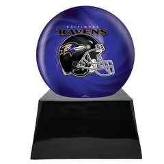Football Urn for Ashes - Football Team Cremation Urn and Baltimore Ravens Ball Decor with Custom Metal Plaque