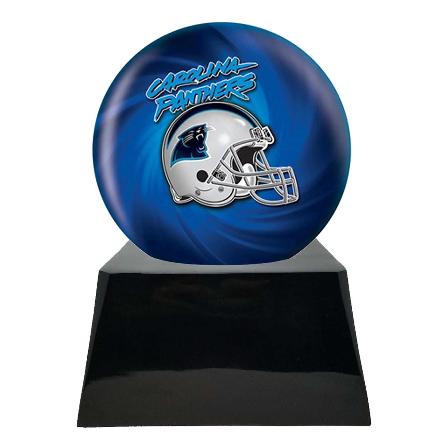 Football Cremation Urn and Carolina Panthers Ball Decor with Custom Metal Plaque Team Cremation Urn
