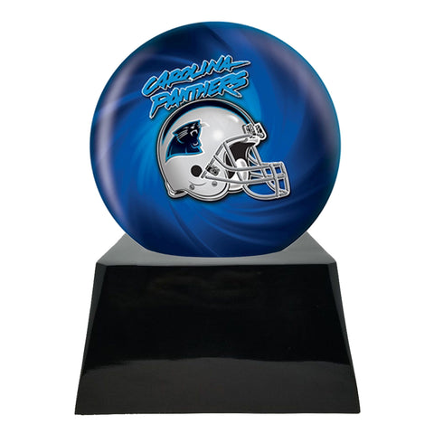 Football Cremation Urn with Optional Carolina Panthers Ball Decor and Custom Metal Plaque