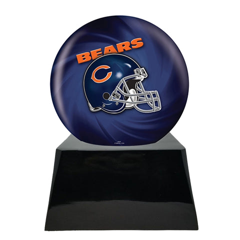 Football Cremation Urn with Optional Chicago Bears Ball Decor and Custom Metal Plaque