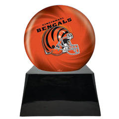 Football Sports Cremation Urn for Ashes - Football Cremation Urn and Cincinnati Bengals Ball Decor with Custom Metal Plaque