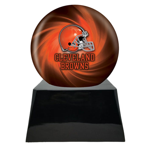 Football Cremation Urn and Cleveland Browns Ball Decor with Custom Metal Plaque