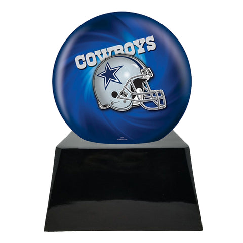 Football Cremation Urn with Optional Dallas Cowboys Ball Decor and Custom Metal Plaque