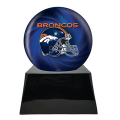 Football Sports Urns for Ashes - Football Cremation Urn and Denver Broncos Ball Decor with Custom Metal Plaque