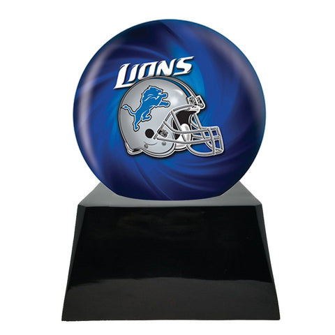 Football Cremation Urn with Optional Detroit Lions Ball Decor and Custom Metal Plaque