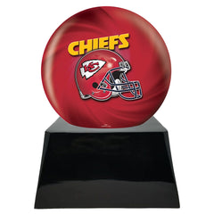 Football Cremation Urn and Kansas City Chiefs Ball Decor with Custom Metal Plaque