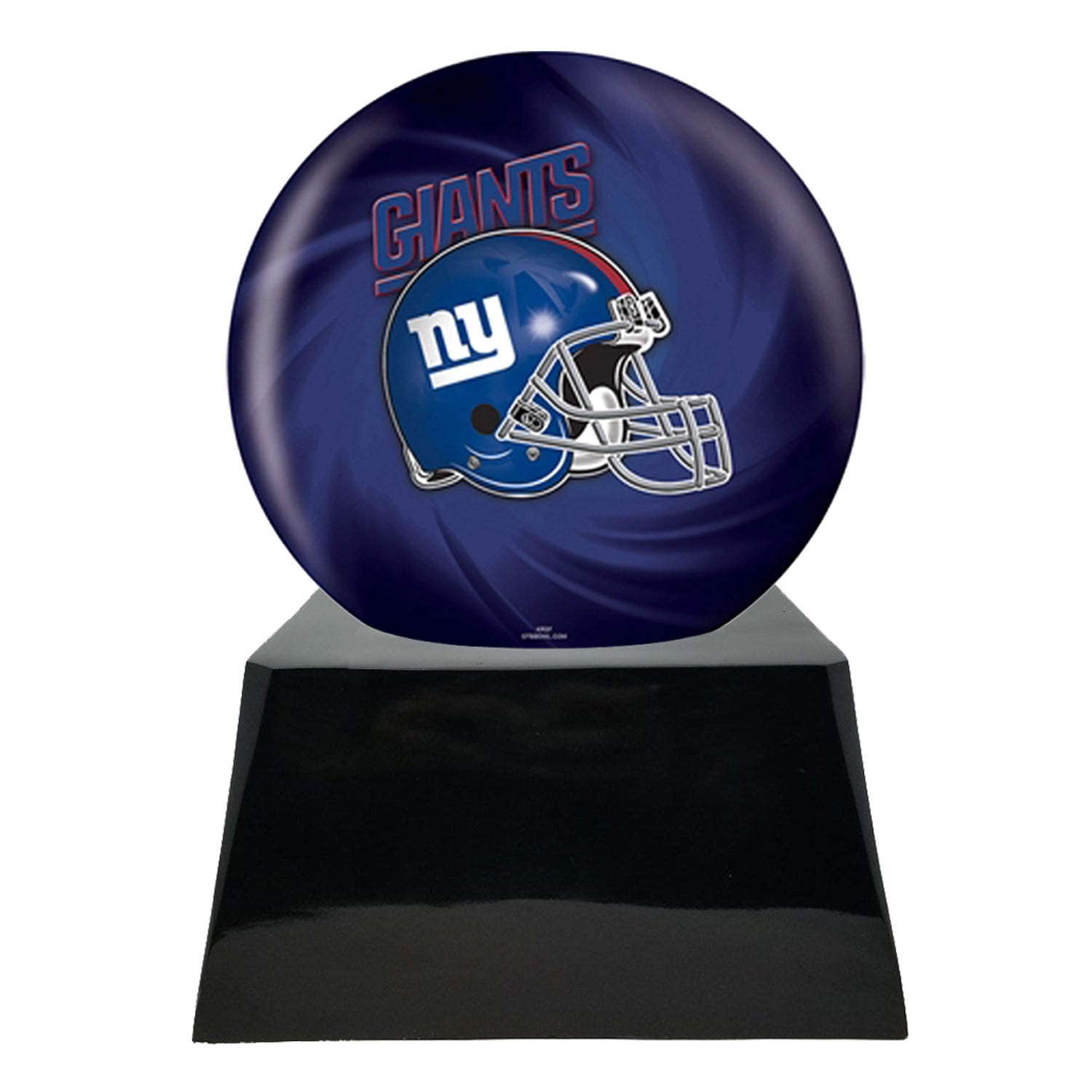Football Cremation Urn and New York Giants Ball Decor with Custom Metal Plaque