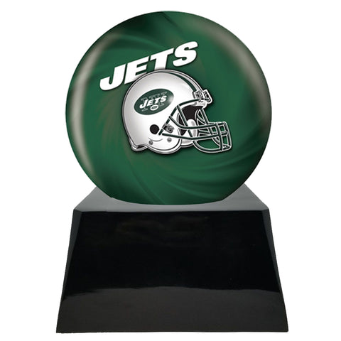 Football Cremation Urn with Optional New York Jets Ball Decor and Custom Metal Plaque