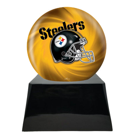 Football Team Cremation Urn and Pittsburgh Steelers Ball Decor with Custom Metal Plaque