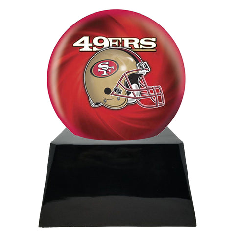 Football Cremation Urn and San Francisco 49ers Ball Decor with Custom Metal Plaque