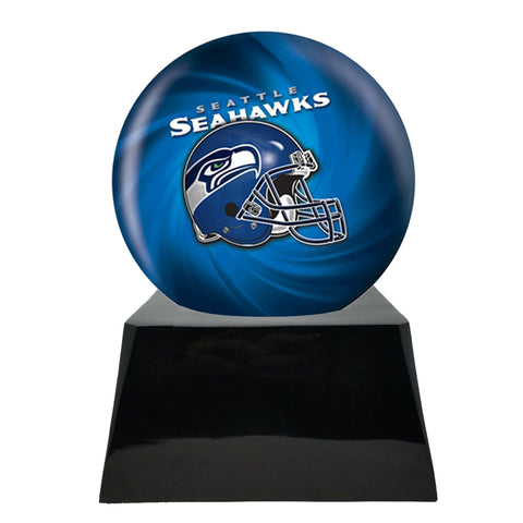 Football Cremation Urn and Seattle Seahawks Ball Decor with Custom Metal Plaque