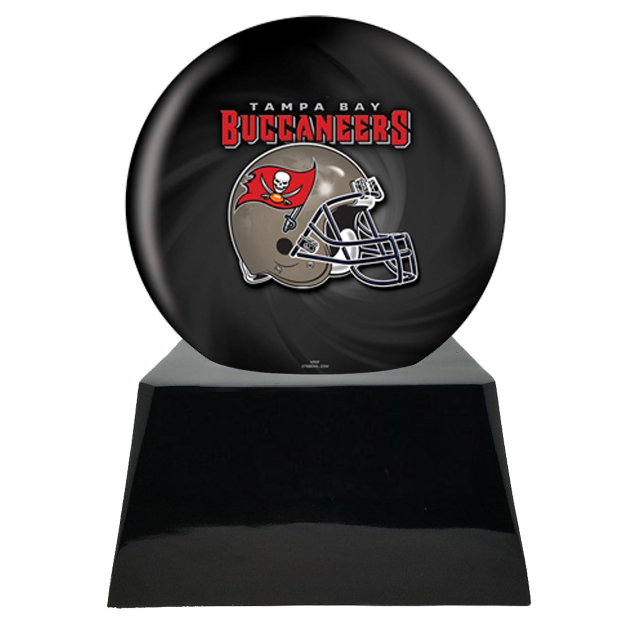 Football Cremation Urn and Tampa Bay Buccaneers Ball Decor with Custom Metal Plaque
