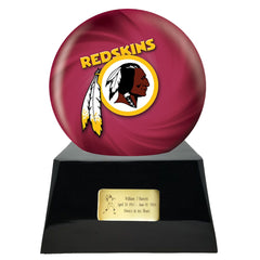 Football Cremation Urn and Washington Red Skins Ball Decor with Custom Metal Plaque