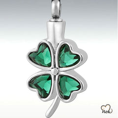 Green Glass Clover-Shamrock Pendant - necklace for ashes