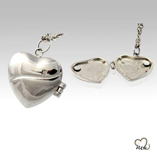 Heart Locket Stainless Steel Cremation Keepsake Pendant, Cremation Pendant - Memorials4u