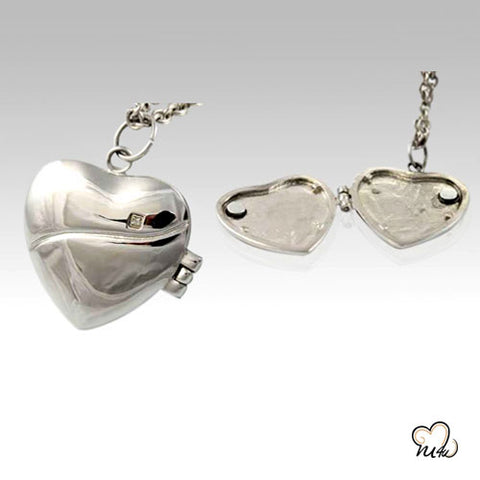 Heart Locket Stainless Steel Cremation Keepsake Pendant
