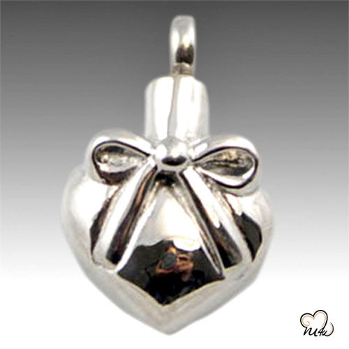Heart with Ribbon & Bow Pendant Stainless Steel Cremation Pendent, Cremation Pendant - Memorials4u
