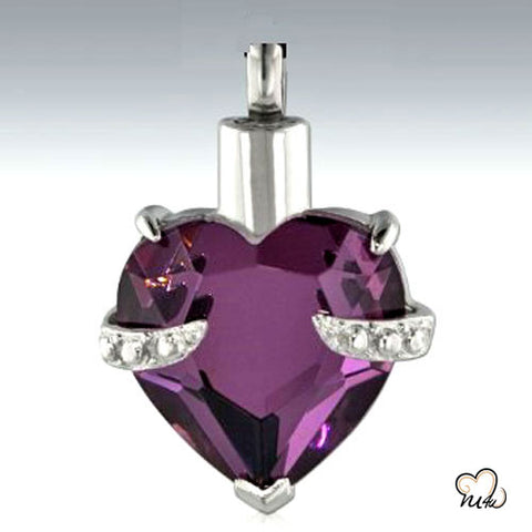 Hold My Heart Amethyst Cremation Jewelry Pendant in Purple