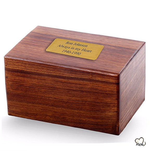 Plain designed wooden urns with name plate - wood urns for adult ashes with handcrafted plain design - handmade wooden cremation boxes for ashes - wood urns for human ashes
