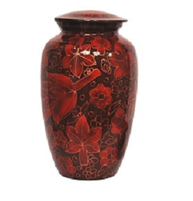 Red Floral Leaves  Cremation Urn