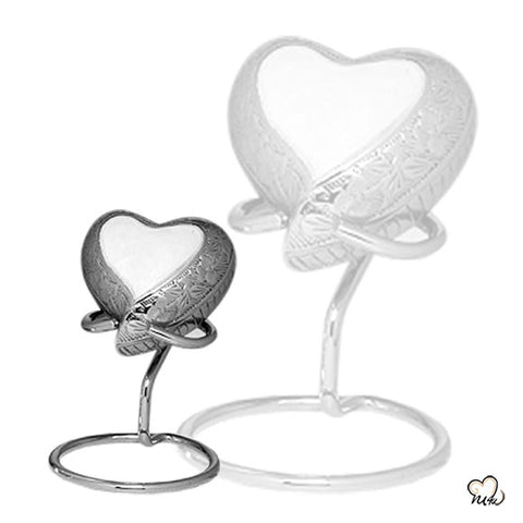 Elegant Pearl Heart Finest Brass Memorial Keepsake Urn