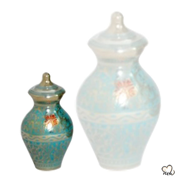 Decorative Butterfly Cremation Urn in Blue & Gold