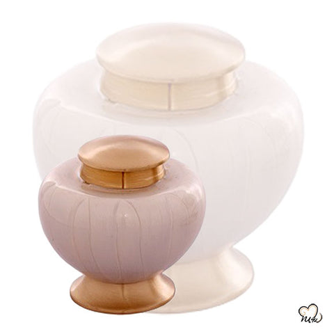 Baroque Shadow Cremation Urn in White & Gold