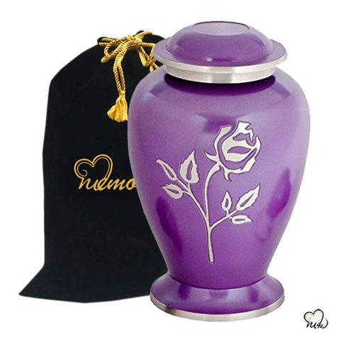 Pearl Rose Cremation Urn in Purple