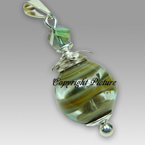 Peaceful Meadow Artistic Glass Cremation Pendant