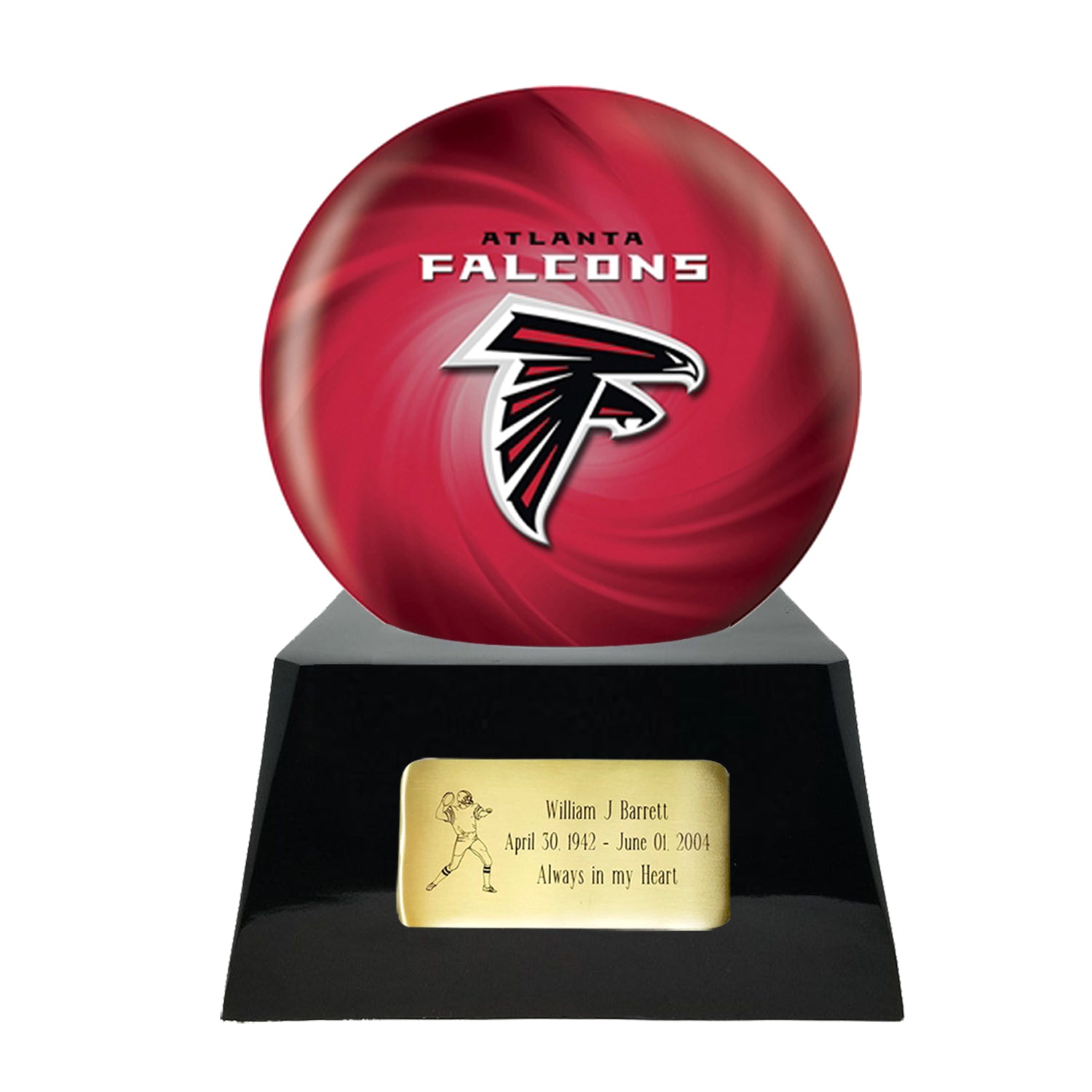 Team-Cremation-Urn: football-sports-team-cremation-urn-for-human-ashes-with-atlanta-falcons-ball-decor