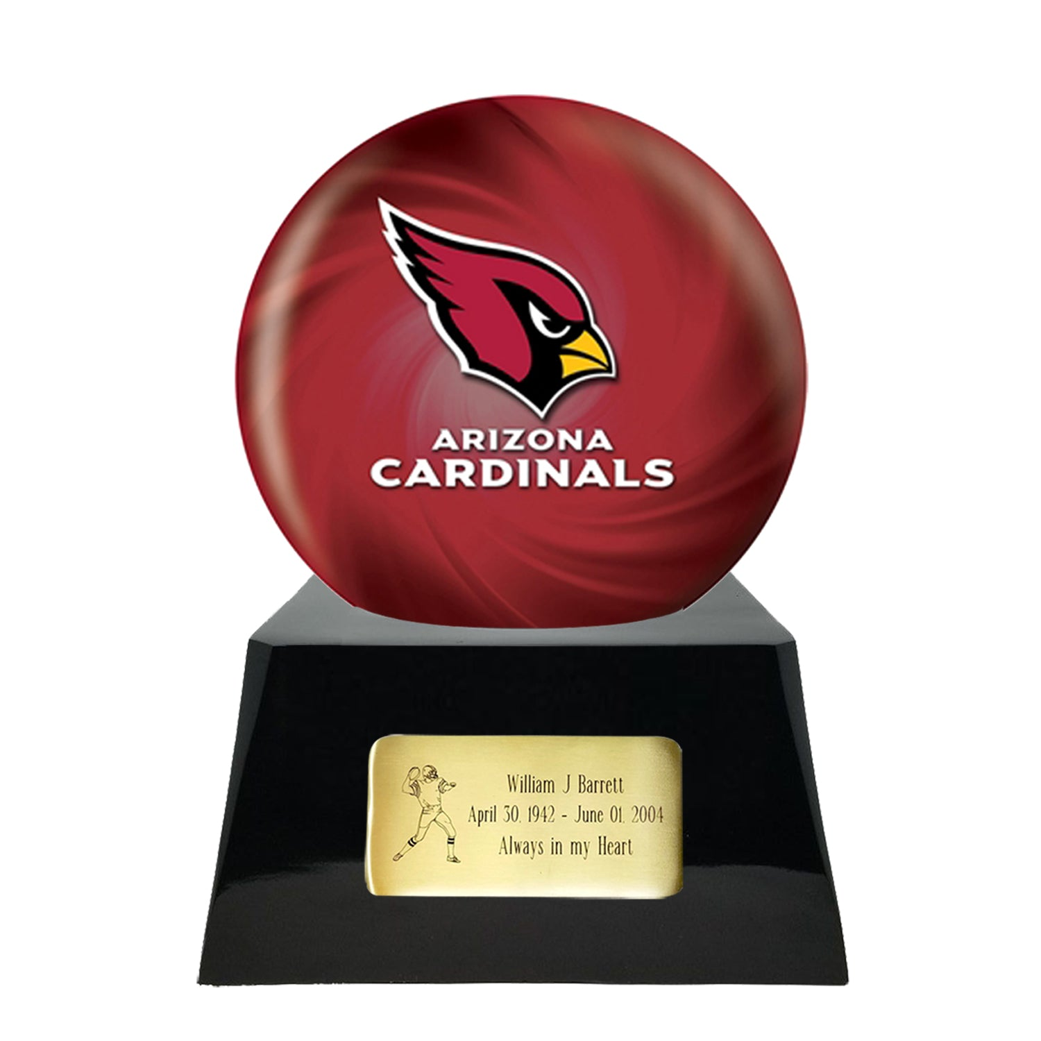Football Team Urn For Ashes - Football Cremation Urn and Arizona Cardinals Ball Decor with Custom Metal Plaque