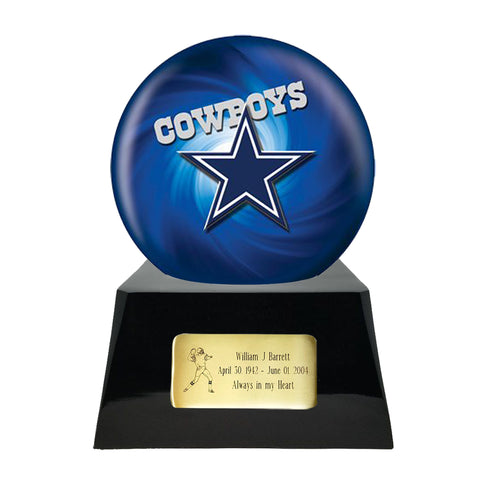Football Cremation Urn and Dallas Cowboys Ball Decor with Custom Metal Plaque