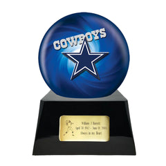 Dallas Cowboys Urn - Football Cremation Urn and Dallas Cowboys Team Cremation Urn Ball Decor with Custom Metal Plaque