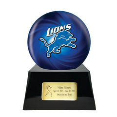 Football Cremation Urn and Detroit Lions Ball Decor with Custom Metal Plaque