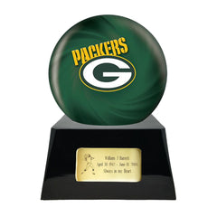Football Cremation Urn and Greenbay Packers Ball Decor with Custom Metal Plaque