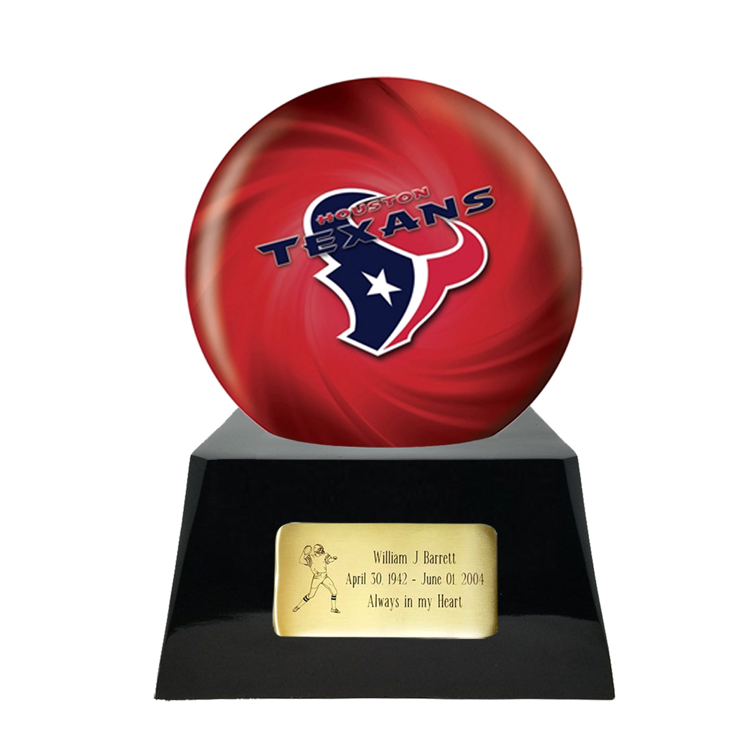Football Cremation Urn and Houston Texans Ball Decor with Custom Metal Plaque