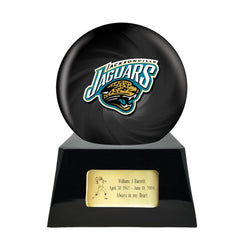 Football Cremation Urn and Jacksonville Jaguars Ball Decor with Custom Metal Plaque