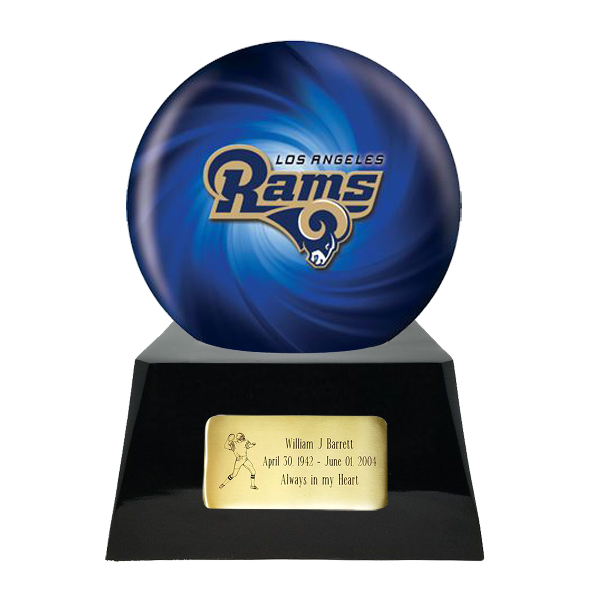 Football Cremation Urn and Los Angeles Rams Ball Decor with Custom Metal Plaque data-image-id=
