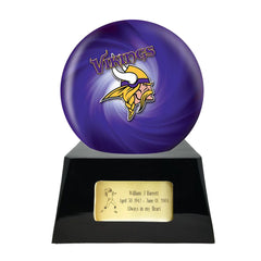 Football Cremation Urn and Minnesota Vikings Ball Decor with Custom Metal Plaque