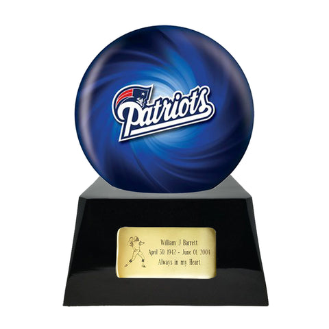 Football Cremation Urn and New England Patriots Ball Decor with Custom Metal Plaque