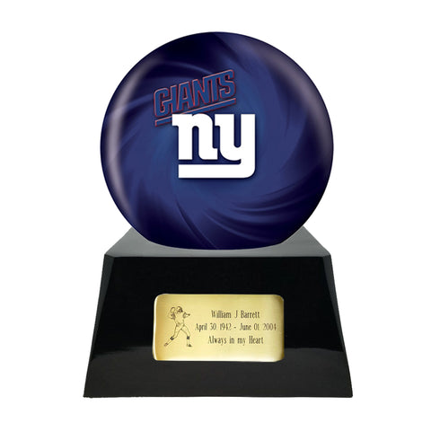 Football Cremation Urn with Optional New York Giants Ball Decor and Custom Metal Plaque