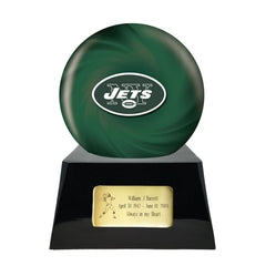Football Cremation Urn and New York Jets Ball Decor with Custom Metal Plaque