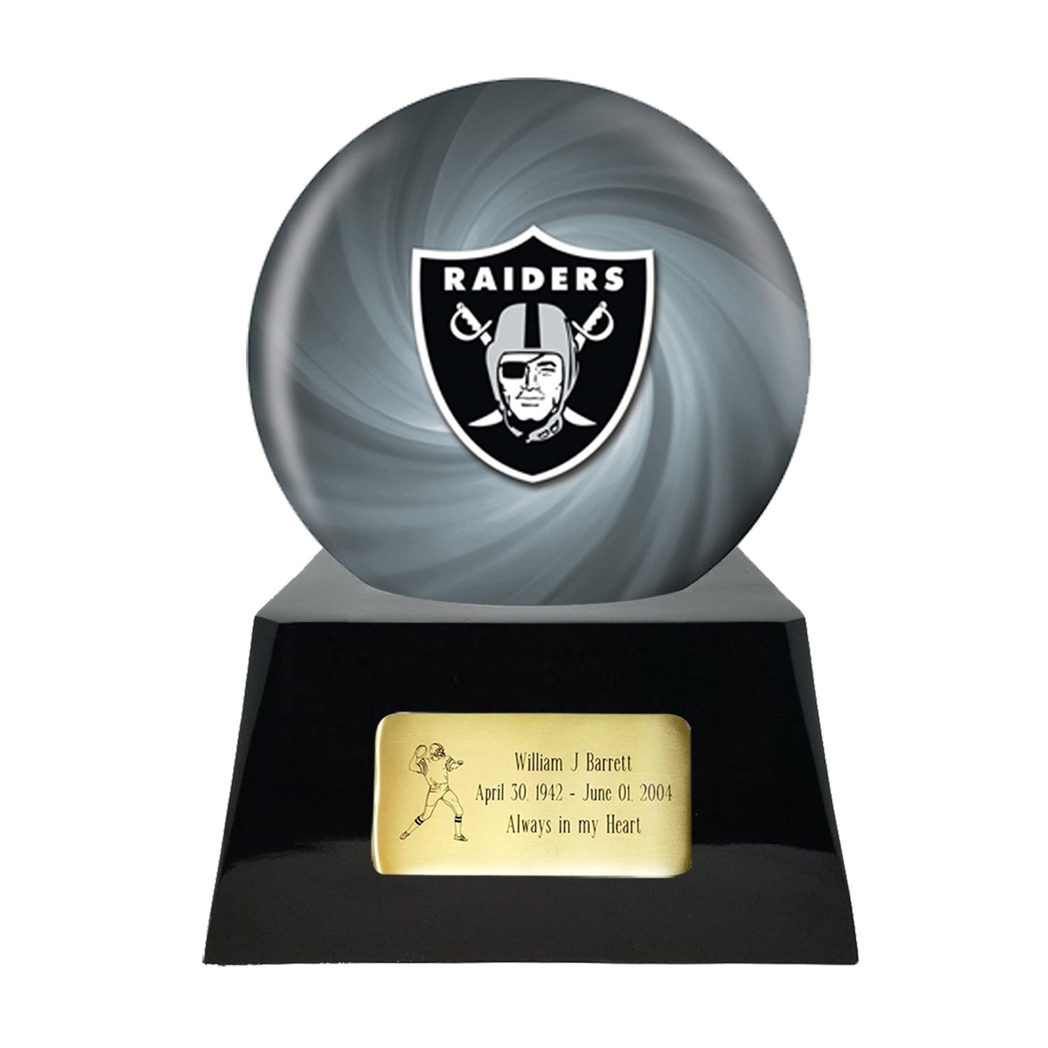 Football Cremation Urn and Raiders Ball Decor with Custom Metal Plaque