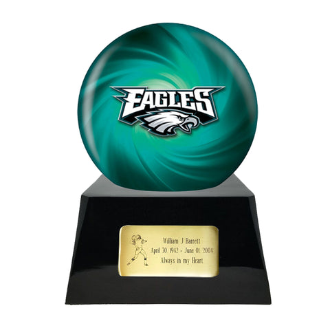 Philadelphia Eagles Urn - Football Team Cremation Urn and Philadelphia Eagles Ball Decor with Custom Metal Plaque